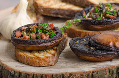 Portobello stuffed with herbs Royalty Free Stock Photos