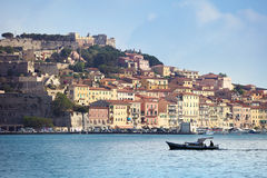 Portoferraio with boat on Elba island, Tuscany Royalty Free Stock Images