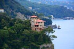 Portofino,利古里亚,在Portofino港口的Italy.Speed小船 免版税图库摄影