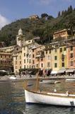 Portofino,利古里亚,在Portofino港口的Italy.Speed小船 库存照片