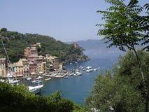 portofino Италии гавани входа к Стоковые Изображения
