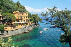 portofino Италии залива малое стоковое фото rf