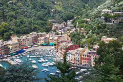 Portofino Bay View from Above. Boats and houses stock photo