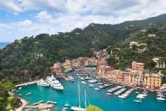 Portofino Bay View from above. Boats and houses royalty free stock image