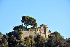 Portofino brown castle Royalty Free Stock Images