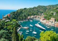 Portofino byLiguria Italien medelhav arkivfoton