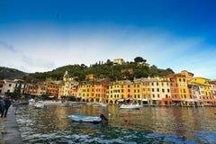 Portofino cityscape. Colorful buildings on the promenade of Portofino Royalty Free Stock Photo