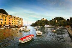 Portofino cityscape. Colorful buildings on the promenade of Portofino Stock Image
