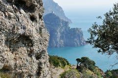 Portofino coast landscape. With tower on background Stock Photography