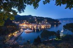 Portofino entro la notte Fotografia Stock