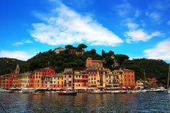 Portofino - ett härligt läge en Ligurian kust Arkivbilder