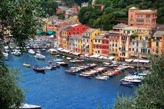 Portofino - ett härligt läge en Ligurian kust Fotografering för Bildbyråer