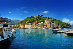 Portofino fishing village famous for its picturesque harbour royalty free stock image