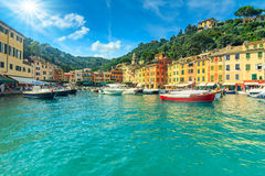 Portofino fishing village on a summer day,Cinque Terre,Italy Stock Photos