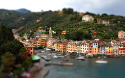 Portofino Genoa tilt shift miniature. Effect of great lux yacht port in italy Stock Photography