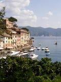Portofino Harbor. Boats float in Portfino's harbor in Italy Stock Images