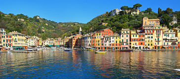 Portofino harbour with fisheye lens, Italy Stock Images