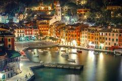 Portofino Harbour at Night Stock Images