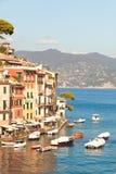 Portofino, Italië Schilderachtige landschapsgebouwen, kust en overzees stock afbeeldingen