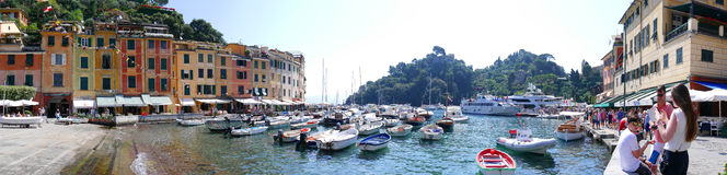 Portofino is an Italian fishing village and vacation resort famous for its picturesque harbour and historical association with ce Stock Images