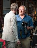 Portofino, Italien - 9. Mai 2010: Schauspieler-Eric-Däne und Fotograf Peter Lindbergh nehmen an der fördernden Fotosession der Uhr Lizenzfreie Stockbilder