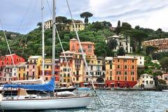 Portofino italy. Beautiful colorful houses and boats in famous,luxury Portofino-Italy Stock Image