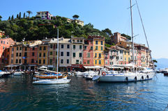 PORTOFINO, ITALY - JUNE 13, 2017: The beautiful Portofino panorama with colorful houses, luxury boats and yacht in little bay harb Stock Image