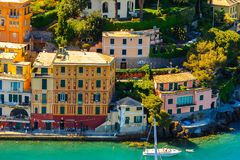 Architecture of Portofino, Italy Stock Images
