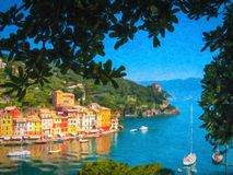 Portofino, Italy, oil painting style illustration. Stock Image