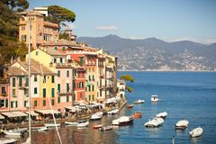 Portofino, Italy. Picturesque landscape buildings, coast and sea. royalty free stock image