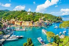 Portofino, Liguria, barco de Italy Imagen de archivo