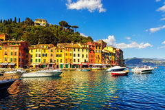 Portofino luxury village landmark, bay harbor view. Liguria, Italy Royalty Free Stock Photos