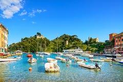 Portofino luxury village landmark, panorama view. Liguria, Italy Stock Image