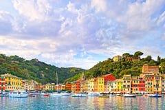 Portofino luxury village landmark, panorama view. Liguria, Italy. Portofino luxury landmark panorama. Village and yacht in little bay harbor. Liguria, Italy Stock Photo