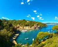 Portofino luxury village landmark, panoramic aerial view. Liguri Royalty Free Stock Photo