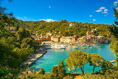 Portofino luxury village landmark, panoramic aerial view. Liguri. Portofino luxury landmark aerial panoramic view. Village and yacht in little bay harbor Stock Photography