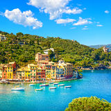 Portofino luxury village landmark, panoramic aerial view. Liguria, Italy stock images