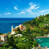 Portofino by på den Ligurian kusten, Italien Arkivbild
