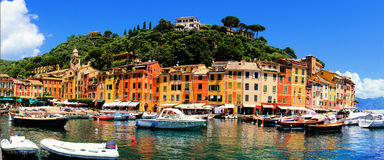 Portofino panorama Royaltyfri Fotografi