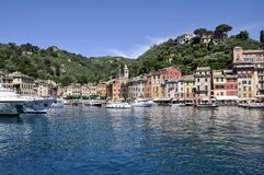 Portofino panorama, Italien Royaltyfri Fotografi