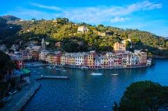 Portofino panorama,luxury harbor and colorful houses,Liguria,Italy stock images