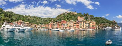 Portofino Panorama. Panoramic view on the city of Portofino in summer Stock Photos