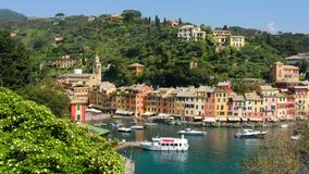 Portofino picturesque ligurian colourful town - Genoa - Italy stock video footage