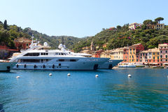 Portofino port with colorful houses, yachts and Mediterranean Sea Royalty Free Stock Photos