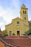 Portofino, señal de la iglesia de San Martín. Italia Foto de archivo libre de regalías