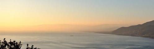 Portofino sea sunset 1. Sunset landscape on sea in portofino Stock Image