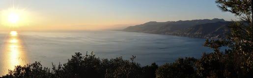 Portofino sea sunset. Sunset landscape on sea in portofino Royalty Free Stock Image