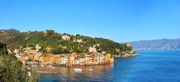 Portofino shore panorama Royalty Free Stock Photography