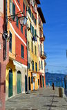 Portofino street, Liguria, Italy. Empty street with colorful buildings in Portofino, an Italian fishing village and upmarket resort famous for its picturesque Stock Photography