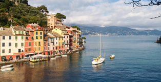 Portofino the tipical house at the Harbor Stock Photography